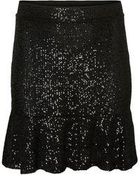 Vero Moda Normal waist glitter skirt - Schwarz
