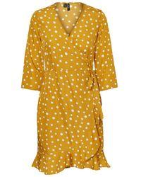 Vero Moda Gepunktetes Wickel Minikleid - Gelb