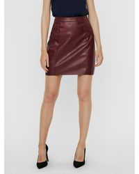 Vero Moda High-waist Gecoate Minirok - Rood