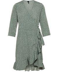 Vero Moda Gepunktetes Wickel Minikleid - Grün