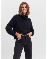 Vero Moda Hoher kragen strickpullover - Schwarz