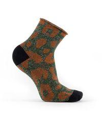 Veronica Beard Tailored Union Guepard Leopard Print Socks - Green