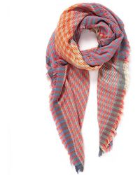 Veronica Beard Houndstooth Square Scarf - Pink