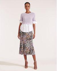 Veronica Beard Diane Watercolor Leopard Skirt - Multicolour