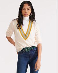 Veronica Beard Jessel V-neck Pullover - White