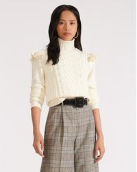 Veronica Beard Earl Crew-neck Cable Sweater - White
