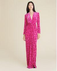 Veronica Beard Ruthie Burnout Velvet Dress - Pink