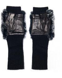 Veronica Beard Fingerless Rex Gloves - Black