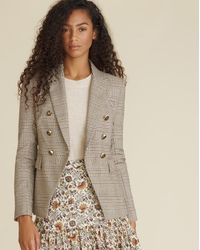 Veronica Beard Miller Plaid Dickey Jacket - Natural