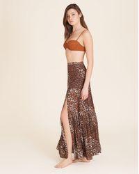 Veronica Beard Serence Leopard Maxi Skirt - Brown