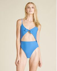 Veronica Beard Aniston Cutout Swimsuit - Blue