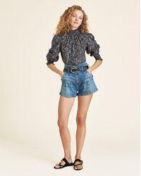 Veronica Beard Jaylen Notch-waist Short - Blue