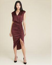 Veronica Beard Casela Ruched Stretch-silk Dress - Multicolor