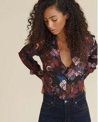 Veronica Beard Angelica Floral Blouse - Black