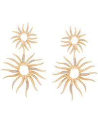 Veronica Beard Statement Sun Pave Earrings - Metallic