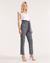 Veronica Beard Clerence Paperbag Plaid-printed Pant - Blue