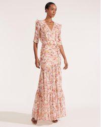 Veronica Beard Mick Ruched Floral-print Long Dress - Pink