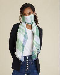 Veronica Beard Scarf Face Mask - Green