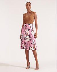 Veronica Beard Sania Pleated Skirt - Pink
