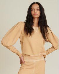 Veronica Beard Analeigh Puff-sleeve Sweatshirt - Natural