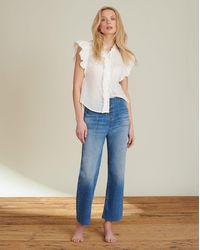 Veronica Beard Crosbie Cropped Wide-leg Jean - Blue