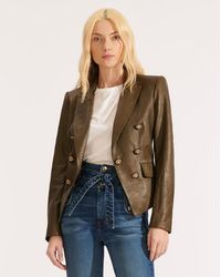 Veronica Beard Cooke Leather Dickey Jacket - Green