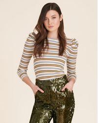 Veronica Beard Britney Puff-sleeve Striped Top - Multicolour
