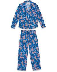 Veronica Beard Desmond And Dempsey The Chango Monkey Print Pyjama Set - Blue