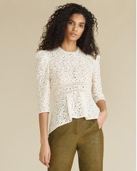 Veronica Beard Mayme Lace Top - White