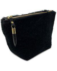 Veronica Beard Kempton & Co. Shearling Makeup Bag - Black