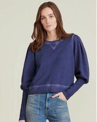 Veronica Beard Analeigh Puff-sleeve Sweatshirt - Blue