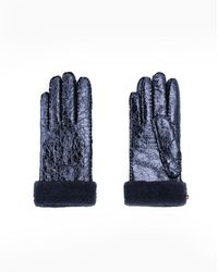 Veronica Beard Metallic Shearling Gloves - Blue