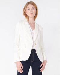 Veronica Beard Cutaway Linen Dickey Jacket - White