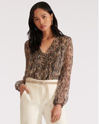 Veronica Beard Lowell Python-print Blouse - Natural