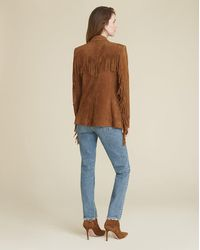 Veronica Beard Pali Suede Fringe Dickey Jacket - Brown