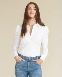 Veronica Beard Gilan Puff-sleeved Top - White