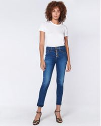 """Veronica Beard - Debbie 10"""" Skinny With Gold Buttons - Lyst"""