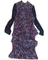 Saloni Silk Mid-length Dress - Blue