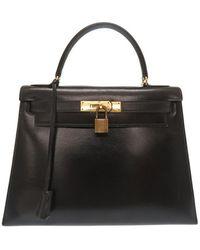 Hermès Kelly 28 Leather Handbag - Black