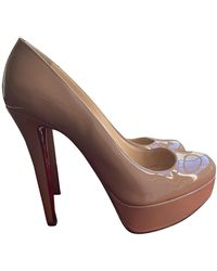 Christian Louboutin Bianca Patent Leather Heels - Natural