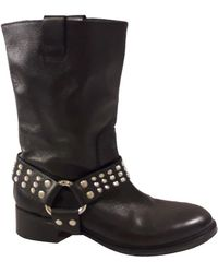 Zadig & Voltaire Leather Western Boots - Black