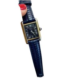 Cartier Tank Must Silver Gilt Watch - Blue