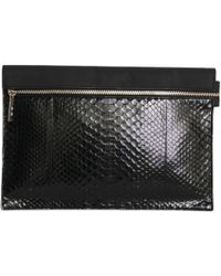 Victoria Beckham - Black Exotic Leather Clutch Bag - Lyst