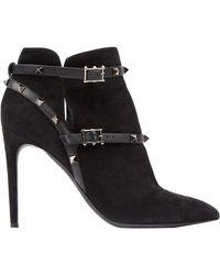 Valentino - Boots Rockstud en Suede Noir - Lyst