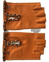 Chanel Leather Mittens - Orange