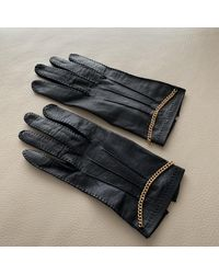 Chanel Navy Leather Gloves - Blue
