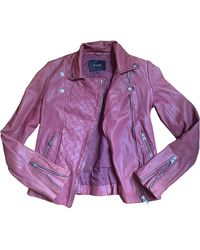 Maje Leather Biker Jacket - Pink
