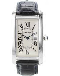 Cartier Tank Américaine Weißgold Uhren - Schwarz
