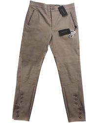 Bottega Veneta Leather Trousers - Natural