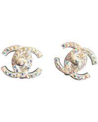 Chanel Orecchini in metallo argentato CC - Metallizzato